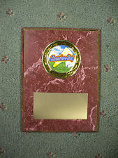 Cheerleading trophy plaque 6 x 8 ruby with gold trim personalized