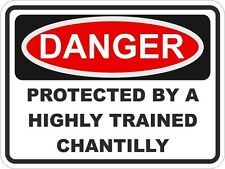 1x Danger Protected By Chantilly Warning Funny Sticker Cat Pet Aufkleber