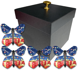 Black Exploding Butterfly Box With Christmas Flying Butterflies