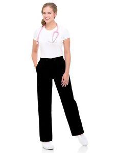 Landau Black Scrub Pant Elastic Waistband Classic Straight Leg Relaxed Fit 8327