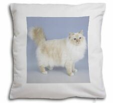 Red Birman Cat Soft Velvet Feel Cushion Cover With Inner Pillow, AC-92-CPW