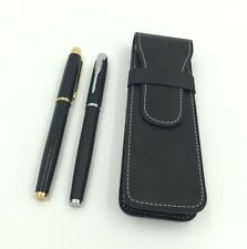 Black Leather business affairs Pen Pouch/Case Fountain Pen Case For 2 Pens