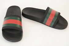 Gucci black green red 10 rubber stripe logo slip on slide sandal UK9 shoe $210