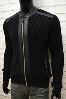REPLAY Uomo Maglione Nero con Zip Taglia M Pullover Felpa Cardigan Sweater Men's