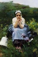 """stunning art 24x36 oil painting handpainted on canvas """"milkmaid """""""