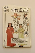 Vintage Simplicity 8942 - 1980s Girls Nightgown, PJs, Robe & Hat, Size LG, Uncut