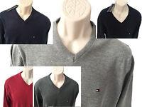 NEU: Tommy Hilfiger Herren Pullover V- Ausschnitt Schwarz, Grau, Navy, Rot