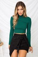 Crop Top Tshirts Long Sleeve Skinny Pullover Tops Female Turtleneck Slim T Shirt