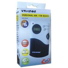 Omega 2045 Mini AM/FM Radio Built-in Speaker Stereo Earphone Included LCD Clock