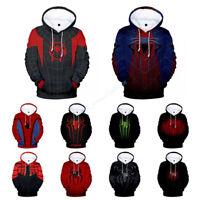 Men's Marvel Spiderman 3D Hoodie Sweatshirt Sweater Long Sleeve Pullover Tops