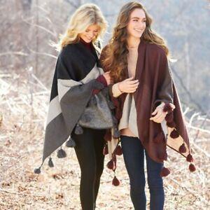 "Mud Pie H8 Women's Fashion 51""x 49""Knit June Tassel Ruana 80110007 Choose"