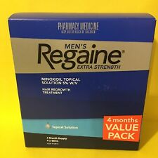 REGAINE MEN'S EXTRA STRENGTH SOLUTION 4-MONTH  PACK + FREE POSTAGE!