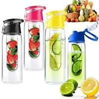 800ml Sports Fruit Infusing Infuser Water Lemon Juice Health Bottle Flip ON Top