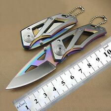 Stainless Steel Mini Key Chain Knife Tactical Hunting Rainbow Pocket Knife
