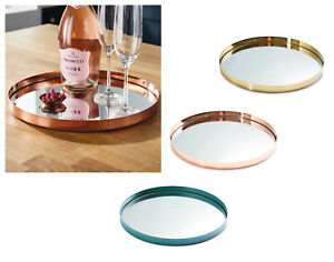 Mirror Glass Rose Gold Copper Turquoise Metal Plate Candle Display Drinks Tray