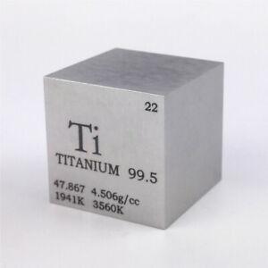 Titanium Metal Density Cube 25.4mm 99.5% 73g for Element Collection