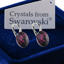 925 Sterling Silver Earrings *Amethyst* Genuine 12mm Crystals from Swarovski®