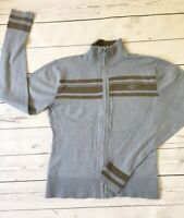 Henri Lloyd Zip Up Knit Jumper Top Size 4 Small To Medium Blue Stripe Grey