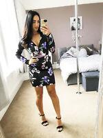 BNWT Black Wrap Dress Flower Pattern Summer Floral UK Ex L1psy