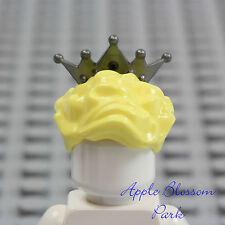 LEGO Female Princess Minifig BLONDE QUEEN HAIR Bride Yellow w/SILVER Tiara Crown