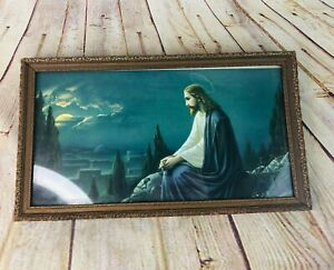 """vtg jesus print picture under glass w wood frame 16"""" x 9"""" religious"""