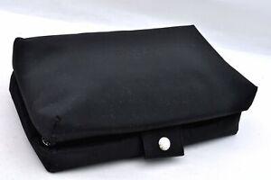 Authentic BVLGARI Nylon Pouch Black A1929