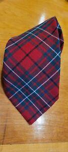 Lochcarron Cumming Clan Tartan Red Green Black & White Wool Tie Made in Scotland