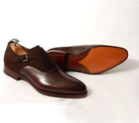 Handmade Brown Formal Shoes, Men's Brown Suede & Leather formal Dress Monk Shoes