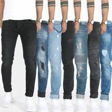 Designer Herren Jeans Hose Slim Skinny Fit Stretch Röhrenjeans Blau Schwarz