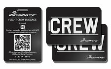 Passive Tracking Smart Luggage Tag by WingMate. Pack of 3. CREW Tag. Black/White