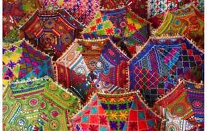 50 Pcs Lot Indian Decorative Wedding Umbrella Vintage Cotton Women Sun Parasols