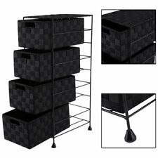 4 Drawers Nylon Home Storage Cabinet Sundries Storage Box With Metal Shelf TB