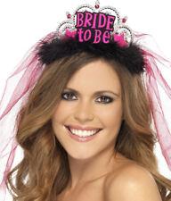 Tiara mit Aufschrift BRIDE-TO-BE und Brautschleier Junggesellinnenabschied JGA