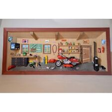 German 3D Wooden Shadow Box Picture Diorama Harley Davidson Motorcycle Workshop