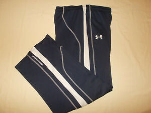 UNDER ARMOUR NAVY BLUE W/WHITE STRIPE ATHLETIC PANTS MENS XL EXCELLENT CONDITION