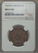 MEXICO ESTADOS UNIDOS  1929  5 CENTAVOS COIN CERTIFIED UNCIRCULATED NGC MS61-BN
