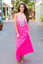 Judith March Neon Pink Halter Maxi Dress with Macrame Neckline - Medium