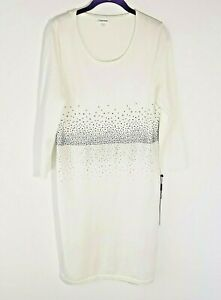 NWT Calvin Klein 3/4 Sleeves White Shift Sweater Dress with Rhinestones Size Lg