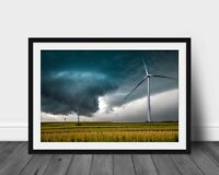 Tornado photography print wind turbine on Iowa landscape photo weather pictures