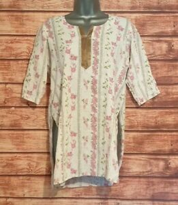 Ladies Beach Cover Kaftan/Tunic Size 10 PINK WHITE GOLD Summer Holiday Women's