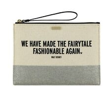 Kate Spade Disney Parks Silver Glitter Clutch Fairytale Fashionable Walt Quote