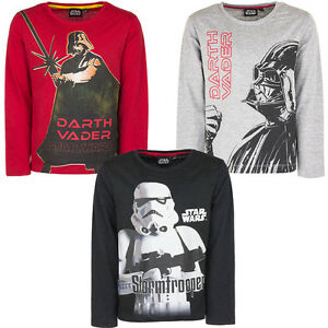 Nuevo Star Wars Niños Camiseta de Manga Larga Camisa Jersey Negro Rojo 104 116
