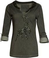 MarJo Trachten Shirt Rosi Trachtenshirt grün olive Damen Gr. XS S XXL