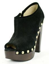 JIMMY CHOO Black Suede Studded Trim Peep Toe Platform Heels Booties 36