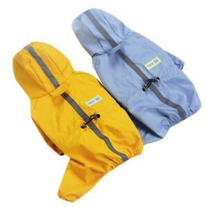 Reflective Waterproof Pet Dog Raincoat Jumpsuit Clothes Puppy Cat Hooded Poncho