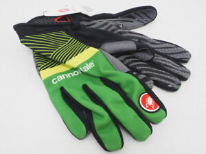 New! Castelli Full Finger Team Cycling Gloves Ylw/Grn/Blk Size Small Lightweight