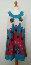 Siya Multi Coloured Big Print Sequin Embroidered Detail Loose Dress Size 12-14!?