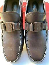 New Salvatore Ferragamo Sardegna 11 Drivers Men's Shoes Size 10 D Brown Loafers