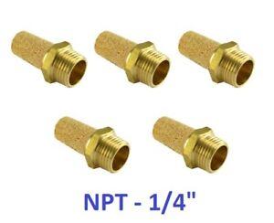 """Brass Silencer Connector 1/4"""" NPT Pneumatic Exhaust Muffler Filter 5 Pieces"""