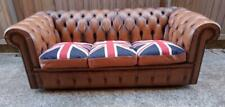 EXCELLENT BESPOKE MORAN TAN LEATHER 3 SEATER CHESTERFIELD SOFA SETTEE 190cm